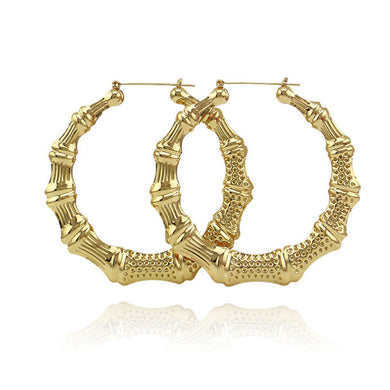 Punk 90mm Gold Big Large Bamboo Hoop Earring For Women Hiphop Circle Drop Statement Earring Party Jewelry Gift