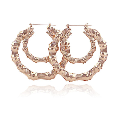 Exaggerated Gold Big Large Bamboo Hoop Earring For Women Hiphop Round Circle Pattern Drop Earrings Jewelry
