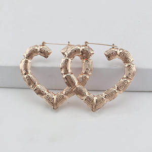 Hiphop Gold Bamboo Hoop Earring For Women Rose Gold Tone Heart Big Large Statement Earring Brincos Party Jewelry