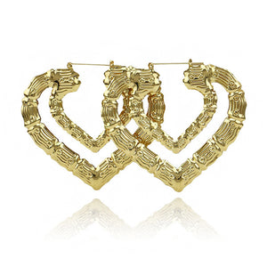 Fashion Gold Bamboo Hoop Earring For Women Gold Tone Double Heart Big Large Statement Earrings Party Jewelry Gift