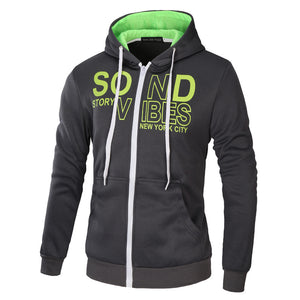 Letter Printed Zip Through Overhead Hoodies Autumn Fashion for Men