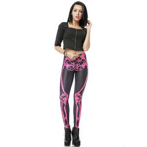Pink Skeleton Pattern Long Stretchy Halloween Festive Leggings