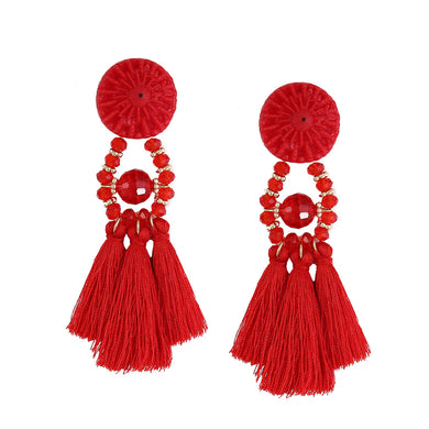 Solid Color Resin Stud Eearrings with Tassels Dangles