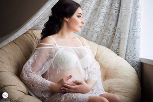 Sheer Lace Cold Shoulder Maternity Tent Dress