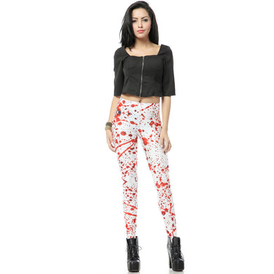 White Leggings with Red Splash Pattern Women's Stretchy Leggings