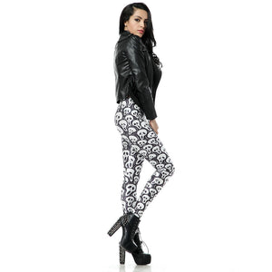 Black and White Skulll Pattern Party Novel Festive Leggings