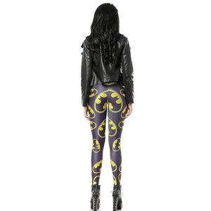 Bat Signal Pattern Gray Long Stretchy Leggings for Women