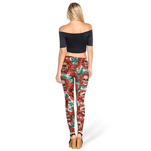Big Skull Floral Pattern Long Full Length Leggings for Women