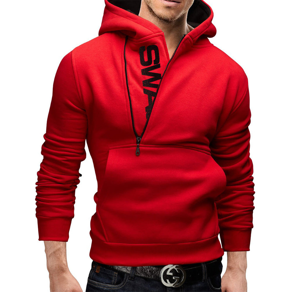 Half Zip Hidden Letter Overhead Hoodies with Kangaroo Pocket