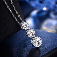 Silver 3-Zircon in Row Details Pendant for Women Necklace (pendant only)