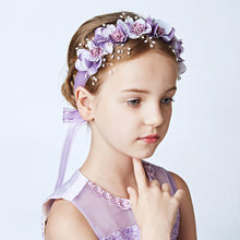 Purple Flower Girls Ribbon Headband for Party Dress Floral Wreath Wedding Party Hairband Hairwear Hair Ornaments Jewelry