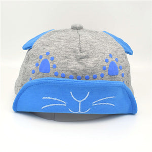 Children's Baseball Cap Cartoon Cat Baby Soft Eaves Cap 1-3 Years Old Soft Hat