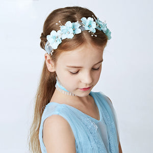 Pearl Blue Barrettes Hair Clips Princess Flower Girls Headpiece Hairgrips Gift Children Hair Ornaments Headdress