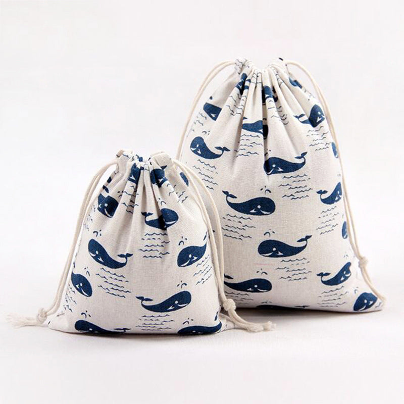 Whale Pattern Drawstring Cotton Bag Gift Bag Wedding Supplies Bags Environment-friendly Storage