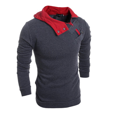 Men's Slim Plus Velvet Hooded Solid Color Sweater