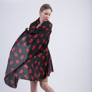 Red Lips Pattern Black Scarves Voile Shawls for Women