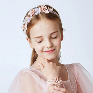 Flower Handmade Headband Girls Party Birthday Headpiece Hair Accessories Children Wedding Prom Headdress Bead Hair Jewelry