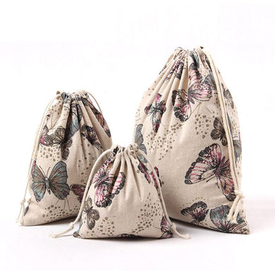 Butterfly Cotton Linen Tea Candy Storage Bag Bundle Drawstring Bag