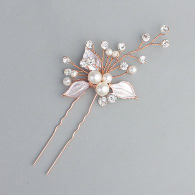 Elegant Floral Hair Pins For Women Charming Party Hair Accessories Wedding Noiva Tiara Pearl White Flower Hairpin Pins Jewelry