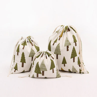 Cotton and Linen Drawstring Bag Christmas Tree Pattern Storage Bag Gift Candy Bag