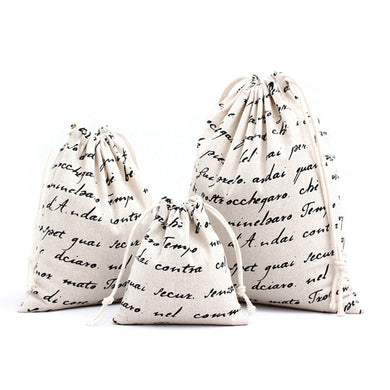 Handmade Cotton Letters Pattern Storage Gifts Candy Bags Drawstring Bag