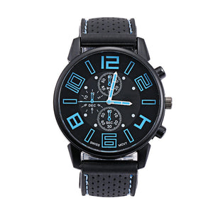 Analog Quartz Watch Silica Gel Band Wrist Watch for Men