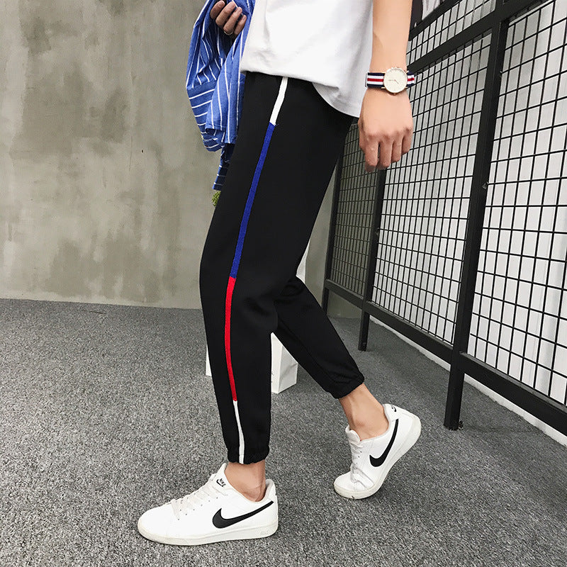 Black Long Casual Pants Cropped Trousers for Men