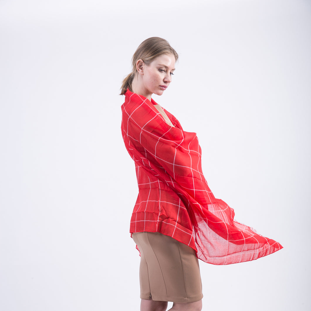 Voile Autumn Scarves with Plaid Check Pattern