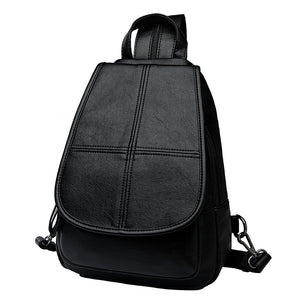 Color Blocks Pattern PU Leather Backpack