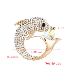 Dolphin Design Rhinestone Women Brooches and Pins