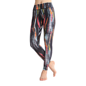 Oil Painting Pattern High Waist Elastic Working Out Training Pants
