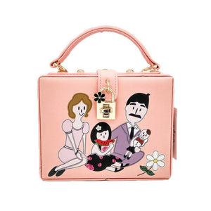 Small Square Bag Lady's Printed Hand Box Bag Lock Bag Korean Version Of Cartoon One-Shouldered Cross Fashion Women's Bag Dinner Bag