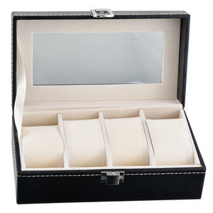 Watch Box 4 Cells Watch Case Glass Top Organizer Black