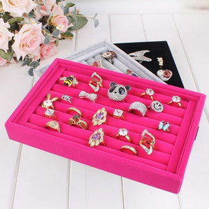 Velvet Rings and Earrings Display Box Jewelry Box