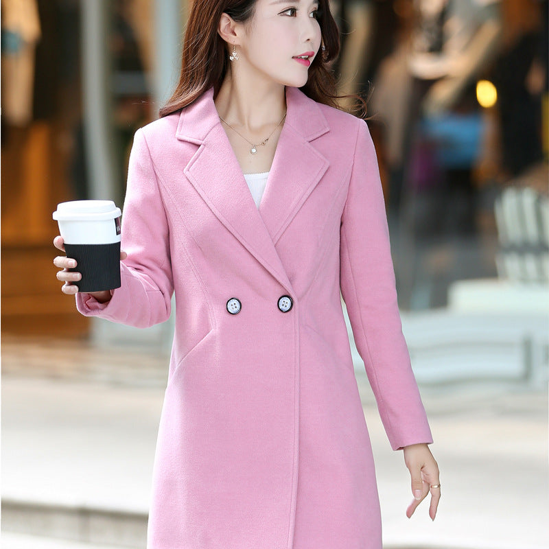 Casual Notch Lapels Medium Length Women's Fashion Coat