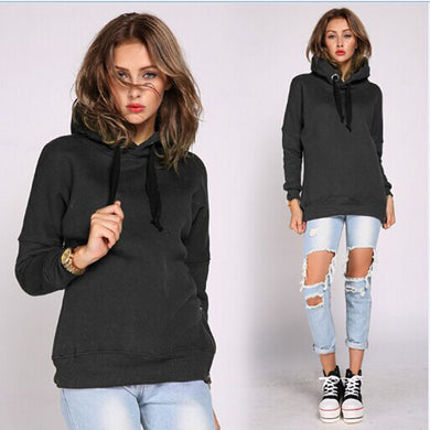 Four Colors Winter Loose Hooded Drawstring Sweatshirt Large Size Long Section Hoodie