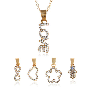 New Hot Metal Diamond-Encrusted Multi-Shape Pendant Foreign Trade Chain Necklace