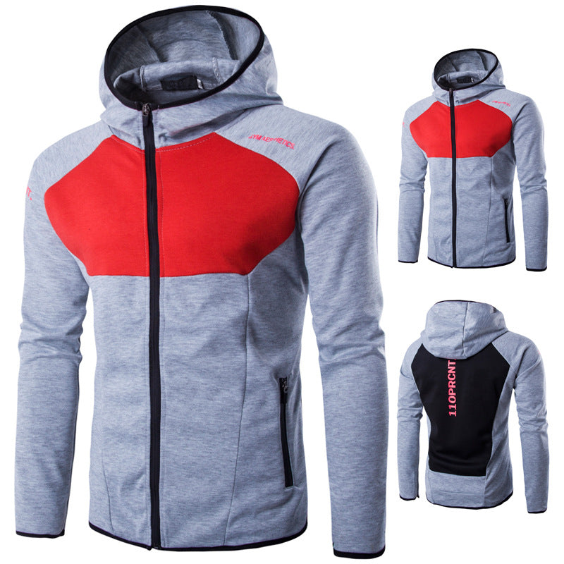 Color Block Overhead Hoodies Red and Black Outfit for Men
