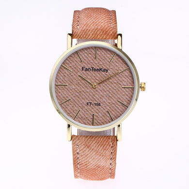 Round Woven Pattern Plate Canvas Band Quartz Watch for Men