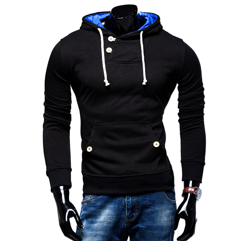 Single Color Button Detail Overhead Hoodies with Kangaroo Pocket