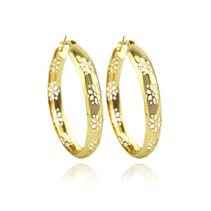 Punk Gold Tone Circle Hoop Earring For Women Hollow Out Flower Round Earrings Fashion Jewelry Brincos Party