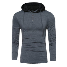 Half Button Up Slim Fitting Long Sleeves Hoodies Shirt for Men