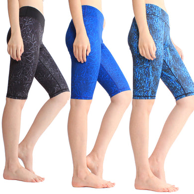 Pattern Elastic Quick Dry Half Length Training Pants for Women