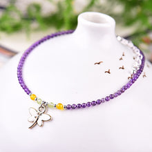 Purple Crystal with Butterfly Pendant Ankle Bangle