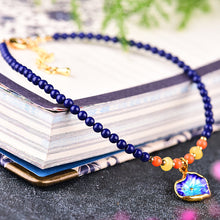 Natural Sapphire Azure Mineral and Cloisonne Pendant Anklet