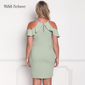 Cold Shoulder Wave Hems Pale Green Bodycon Dress