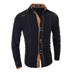 Contrast Color Detail Button Down Collar Business and Casual Shirts for Men