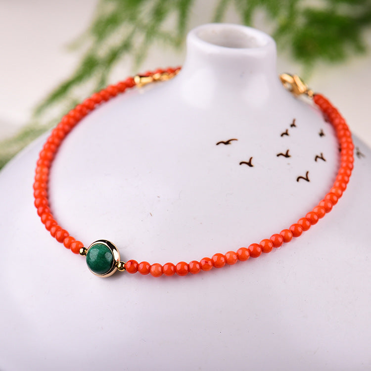 Natural Crystal Accessories Red Agate Artificial Jade Detail Ankle Bangle