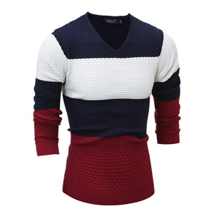 Color Blocks Pullover Sweaters Long Sleeves Joint Color Sweaters