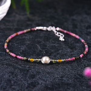 Natural Tourmaline Multi-color Beads Ankle Bangle